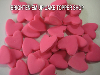 50 CUP CAKE TOPPERS CAKE DECORATION GIANT CUPCAKE 1CM HEARTS CHOOSE YOUR COLOUR