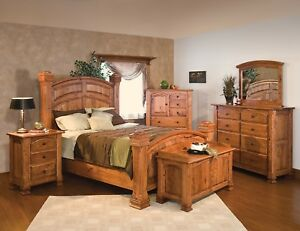 Image Is Loading Luxury Amish Mission Bedroom Set Solid Rustic Cherry