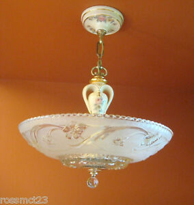 Vintage Lighting S Porcelier Porcelain Glass Chandelier More - 1930's kitchen light fixtures