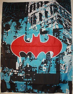 DC COMICS BATMAN RED LOGO GOTHAM CityScape Cloth Fabric Poster Flag Tapestry-NEW