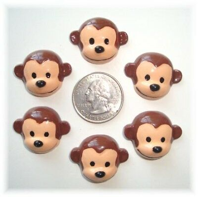 6PC CURIOUS GEORGE MONKEY RESINS FLAT BACK FLATBACK 4 HAIRBOW BOW CENTER