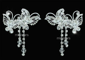 2-Pcs-X-Bridal-Bridesmaid-Jewellery-Prom-Accessories-Butterfly-Hair-Clips-T1488