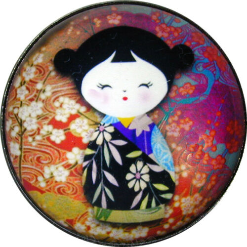 "Japanese Kokeshi Doll Crystal Dome Button 1 /& 3//8/"" KD20 FREE US SHIPPING"