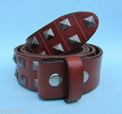 Snap on Leather Belt Pyramid Studs Tan Brown