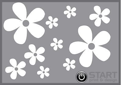 36 White Daisy Flower Vinyl Stickers, Car, Wall, Laptop