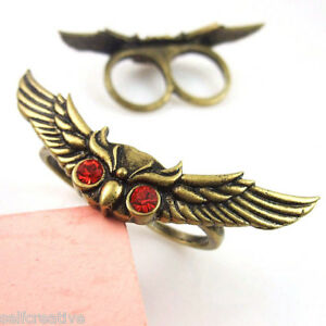 2-4-Long-Bronze-Red-Crystal-Spread-Wings-Owl-2-Two-Double-Finger-Ring-Size-6-7