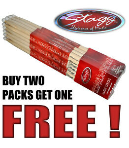 1-PAIR-STAGG-MAPLE-5A-DRUM-STICKS-NYLON-TIP-3-FOR-2-DEAL-drumsticks-M5AN1
