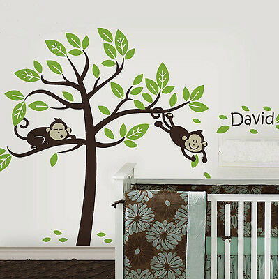 Cute Monkey Tree And Your Baby Name Vinyl Wall Paper Decal Art Sticker T174