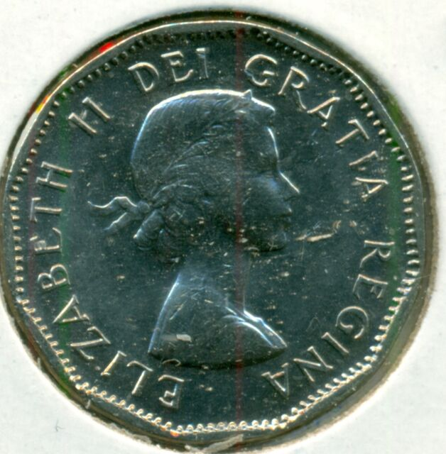 1957 CANADA FIVE CENTS, CHOICE BRILLIANT UNCIRCULATED, GREAT PRICE!