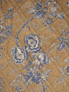 Antique-French-printed-Quilt-section-c1840-1850-Provence-pique