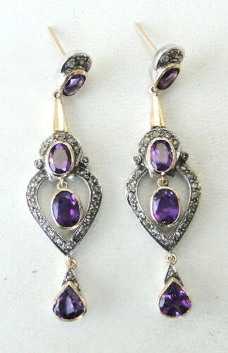 VICTORIAN DIAMOND NATURAL AMETHYST GOLD SILVER EARRING