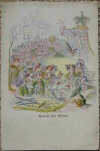 1900-Grandville-Signed-Postcard-Flower-Plant-People