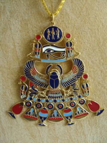Egyptian Handmade Pharaoh Scarab Horus Eye Ankh Necklace Pendant Jewelry XL 103