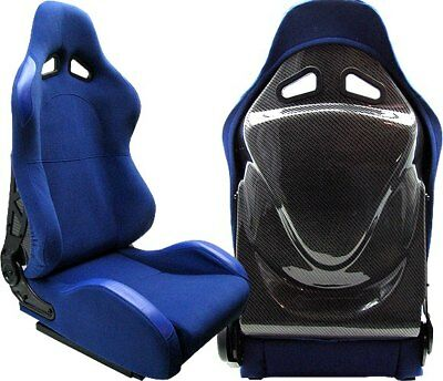 NEW 2 BLUE CARBON RACING SEAT RECLINABLE w/ SLIDER ALL TOYOTA **