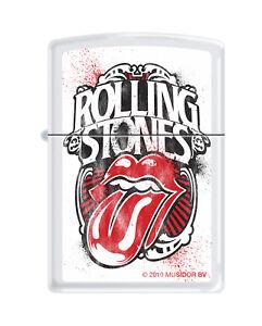 Zippo-Rolling-Stones-Logo-White-Matte-Lighter-Low-Ship-3650