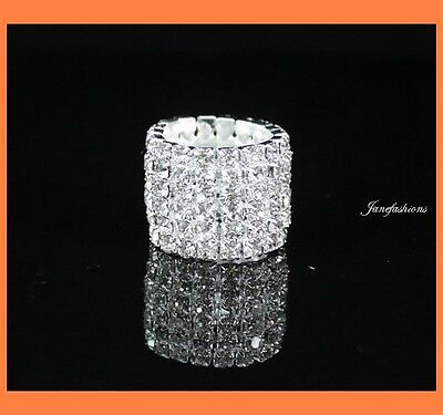 VEGAS CLEAR AUSTRIAN RHINESTONE CRYSTAL STRETCH RING 6-ROW PARTY SILVER PLATED