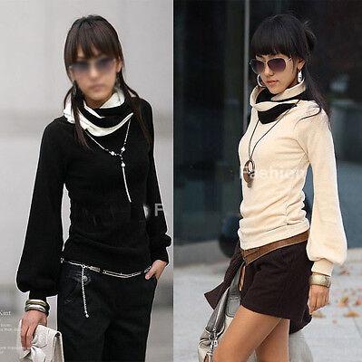 Damen Bluse 2-Farbig Boho Japan Style Rollkragen 36 38 40 42 mf1 SAL