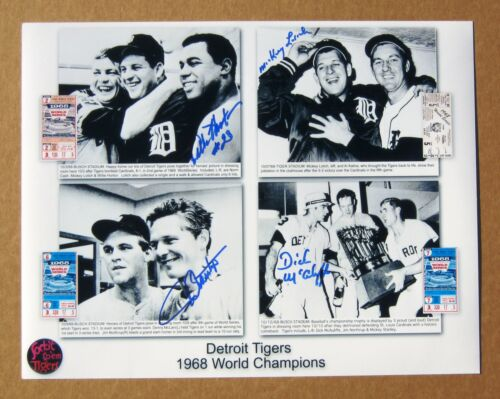 1968 World Series - Tigers 11 x 14 collage photo signed by 4 w tickets - 4 Wins