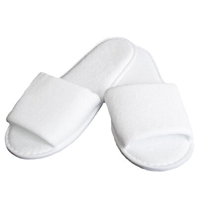 Open Toe Towelling Spa Slippers, White