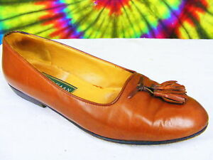 size-6-5-B-ladies-vintage-90s-brown-leather-COLE-HAAN-tassel-loafers-shoes