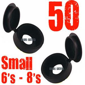 50-X-HINGED-SCREW-COVER-CAP-BLACK-PACK-of-50