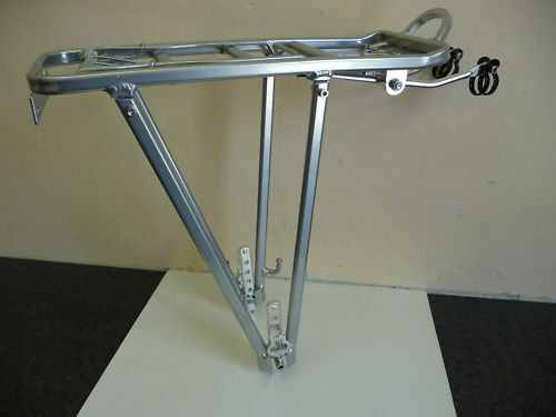 ALLOY Cycle Rear Pannier Rack with Sprung Clip SILVER