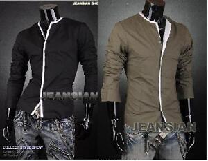 VW-Mens-Designer-Slim-Casual-Dress-Shirt-Polo-Black-Green-S-XL-USA-Seller