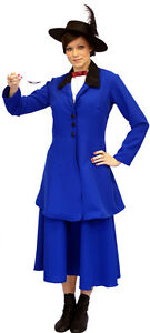 BLUE-Victorian-Edwardian-MARY-POPPINS-fancy-dress-Costume-ADULT-SIZES