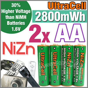 2-2800mWh-AA-NiZn-1-6V-Volt-Rechargeable-Battery-2A-AM3-UM3-KR6-Ultracell-Green