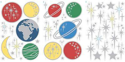 SPACE PLANETS MOON QUICKSTICKS STICKERS GLOW IN DARK WALL STICKERS