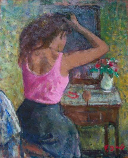 """FRANCOIS GALL Signed 1984 Original Oil - """"Jeune Femme Devant La Coiffeuse"""""""