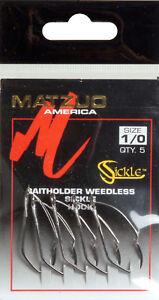 MATZUO-Sickle-Hooks-Baitholder-Weedless-SZ-1-0-Qty-5