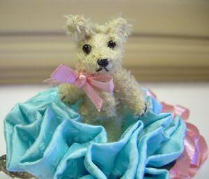 2-034-Artist-Teddy-BEAR-miniature-mohair-OOAK-tiny-TEA-TIME-friend-CATHY-PETERSON