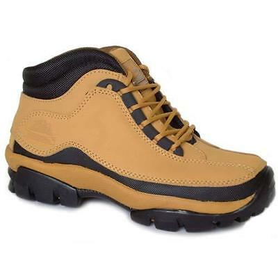 MENS GROUNDWORK LEATHER SAFETY BOOTS WORK BOOTS HIKING ANKLE BOOTS SHOES HONEY