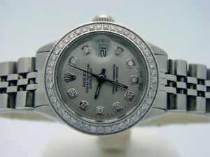LADIES-ROLEX-STAINLESS-STEEL-DATEJUST-DATE-WATCH-SILVER-DIAMOND-DIAL-amp-BEZEL-SS