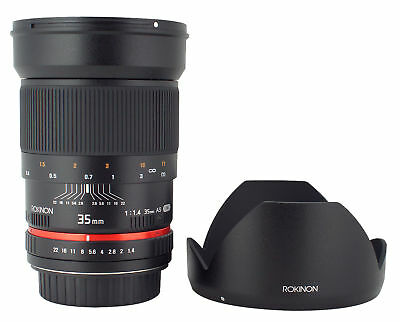 Rokinon 35mm F1.4 Wide Angle Lens for Canon EOS Digital SLR - New!