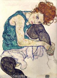 EGON-SCHIELE-ARTIST-039-S-WIFE-EXPRESSIONISM-ART-GICLEE-PRINT-FINE-CANVAS