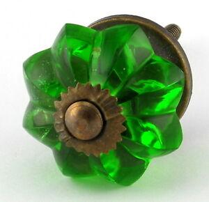 Green glass kitchen cabinet knobs