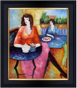 Framed-Quality-Hand-Painted-Oil-Painting-Afternoon-Tea-Time-20x24in