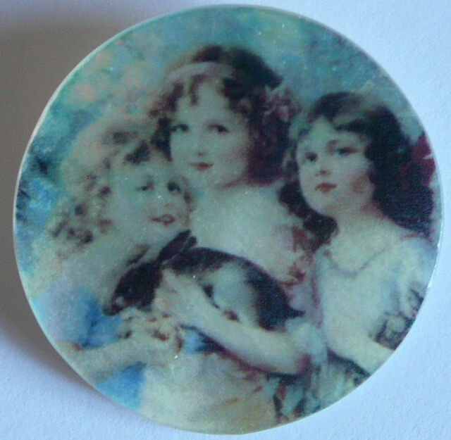Precious Young Girls w/ Pet Bunny Rabbit Mother of Pearl MOP Shank Button 1-3/8""
