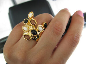 New-RARE-Gold-Plated-Chunky-Arty-Dots-Knuckle-Armor-Ring-in-sizes-7-or-8