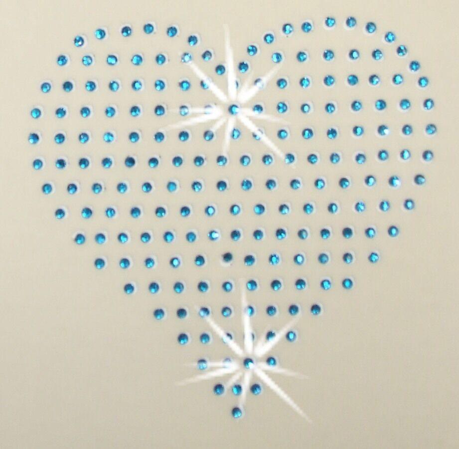 4INCH HEART IRON-ON HOTFIX RHINESTONE CRYSTAL BEAD STONE T-SHIRT TRANSFER PATCH