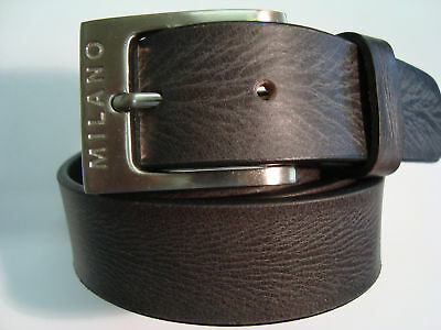 """Gents Leather Belt Distressed Leather Black 100% Leather 1.25"""" Milano"""
