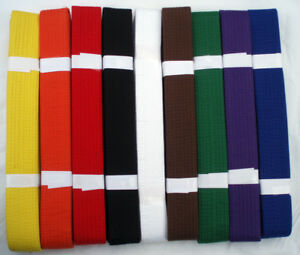 PLAIN-BELTS-for-Karate-Aikido-Taekwondo-Judo-Martial-Arts-ALL-COLOURS