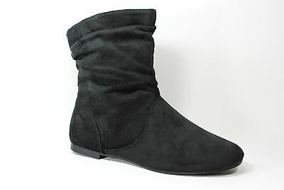WOMEN`S SUEDE CASUAL FLA SLOUCH DRESS FASHION STYLE  ANKLE BOOTS BLACK ALL SIZE