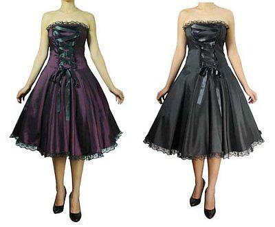 50s Rockabilly Pinup Corset Satin Lace Swing Dress 1x 2x