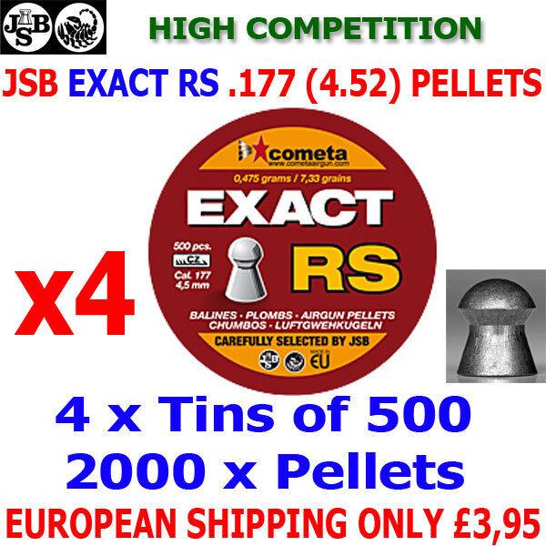 JSB exacta RS .177 4.52mm Airgun Pellets 4 (latas) x500 un. (Alta Competencia)