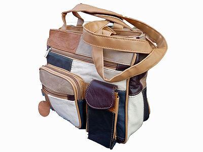 italienisches Leder Damen Handtasche Patchwork weiches Schultertasche 4283