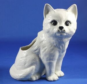 White Cat Kitten Cermaic Figurine Planter with Black Eyes Beautiful!