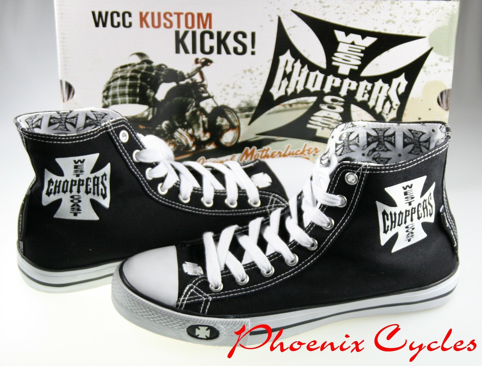 JESSE JAMES WCC WEST COST CHOPPERS IRON CROSS SNEAKER Schuhe HARLEY BIKER